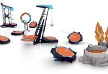 Parcours de billes Boomtrix avec trampolines