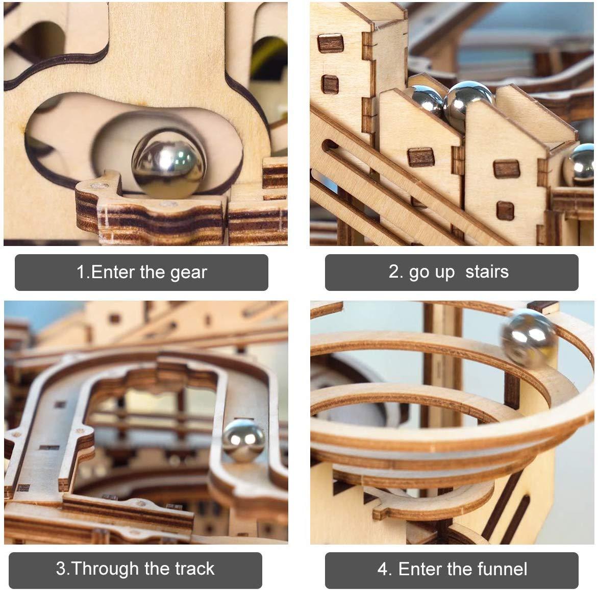 Circuit à billes en bois maquette
